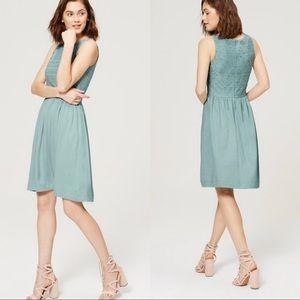 Ann Taylor LOFT Mint Green Eyelet Dress Size 14